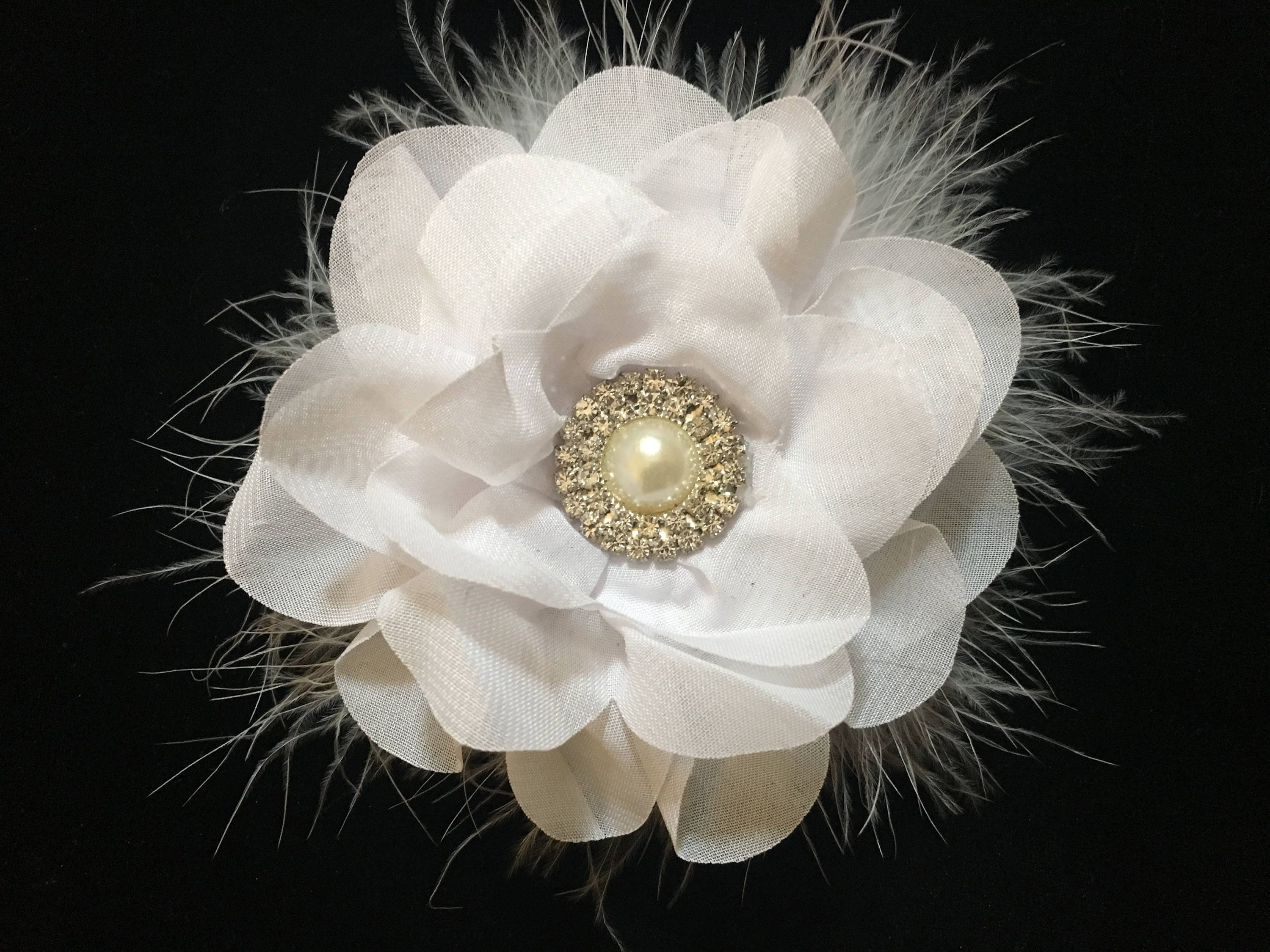 White flower hair clip bridal hair flower clip white pearl white flower hair clip bridal hair flower clip white pearl rhinestone flower hair clip flower girl hair clips white chiffon flower mightylinksfo