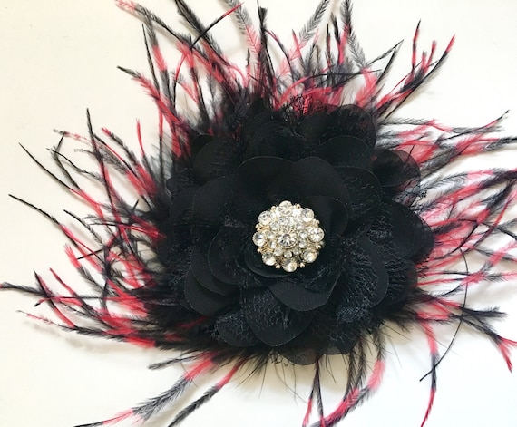 Black and Red Hair Flower Feather Hair Piece, Dance Costume Hair Pieces, Bridal Hair Flower Clip, Fancy Girl BoutiqueNYC Hair Accessories