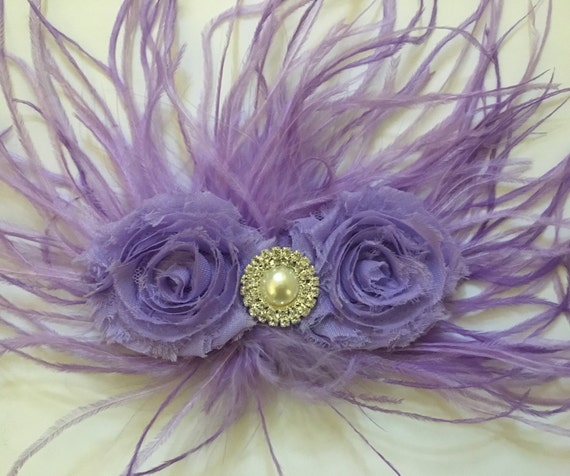 Lavender Lilac Clip , Wedding Bridal Hair Accessories, All Colors, White, Pink, Hot Pink, Ivory, Black Feather Hair Clip