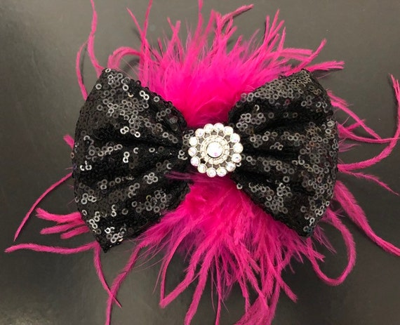 Dance Costume Hair clip, Hot Pink Black Feather Clip, All colors, Custom Dance Hair piece, Purple, Red,Silver, Gold Feather Bow