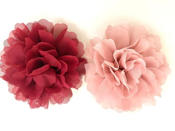 Burgundy Hair Clip, Dusty Pink Rose Hair Clip, Burgundy Hair Clip, Wedding Hairpiece, Bridal Flower Girl Feather Flower Hair Clips