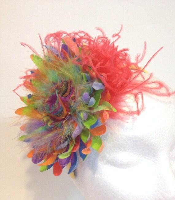 Rainbow Flower Feather Fascinator Headband, Pride Headbands, Rainbow Headbands,Feather Headbands, Custom Handmade Girls Headbands.
