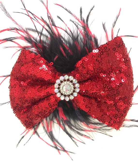 Red Black Hair Bow, Holiday Hair Bow, Red Hair clip, Dance Costume Hair Piece, Feather Hair Bow, Silver, Gold,Royal Blue,Hot Pink Sequin Bow