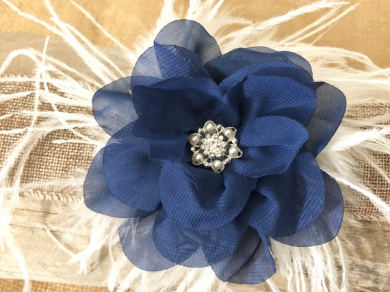 Navy Blue Flower Clip, Ivory Pearl Clip, Navy Feather clip, Navy Hair Bow, Holiday Girl Clip, Portrait Photo, Bridal Clip, Flower Girl Clip