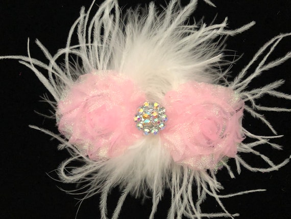 Dance Costume Glitter Hair Clips, Pink, Soft Pink, Hot Pink, Black, Royal Glitter Hair Clips, Feather Dance Hair Clips, Crystal Flower Clip