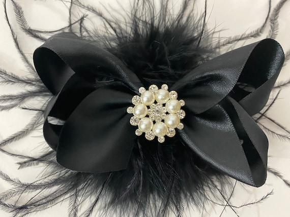 Black Hair Bow, Black Feather Hair Clip, Christmas Hair Bows, Crystal Feather Fascinator Bow Satin Bows, Brides Maids, Feather Hair Clips