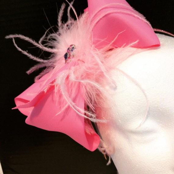 Pink Hair Bow Headband, Jo Jo Bow Headband, Feather Headband Fascinator, Pink, Hot Pink, Black, Purple, Turquoise Bow Headband