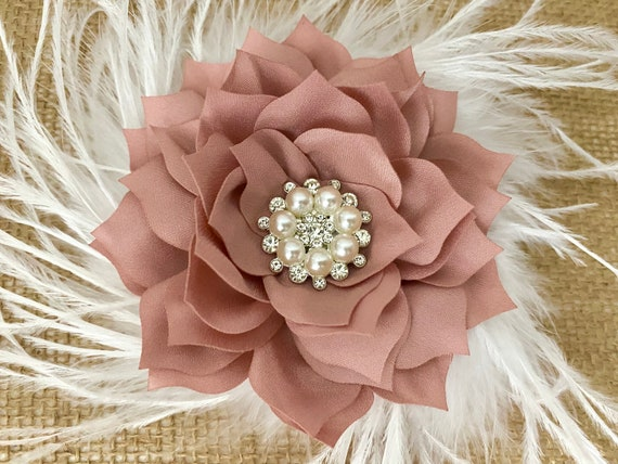 Dusty Pink Rose Fascinator, Wedding Flower Hair Clips, Blush Hair Clip,Ivory Hair Clip, Dusty Pink Rose, Taupe, Champagne Beige, White Clips