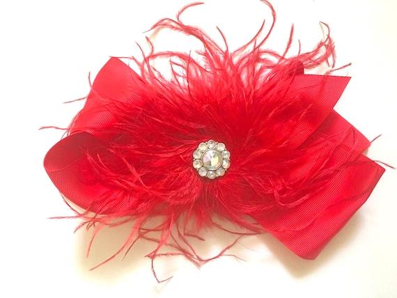 Christmas Hair Bow, Holiday Hair Bow, Holiday Headband doe girls, Feather Hair Bow, Portrait photo, Flower Girl Hair Bow, Bridal Hair clip,
