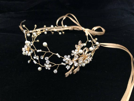 Flower Girl Gold Crown, Crystal Pearl Crown, Gold Crown, Silver Crystal Pearl Crown, Floral Wreath, Bridal Diamond Boho Wreath, Silver Weddi