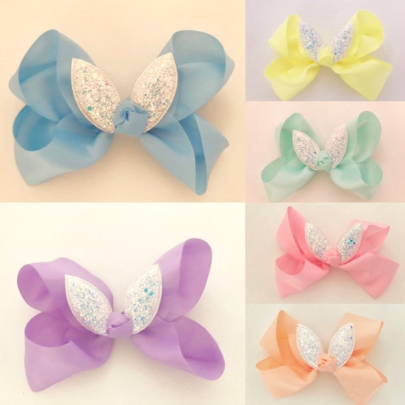 Spring Pastel Hair Bow, Girls Easter Bunny Hair Clip, Yellow Hair Bow, Peach Bow, Mint Bow, Lavender Hair Bow, Easter Basket,
