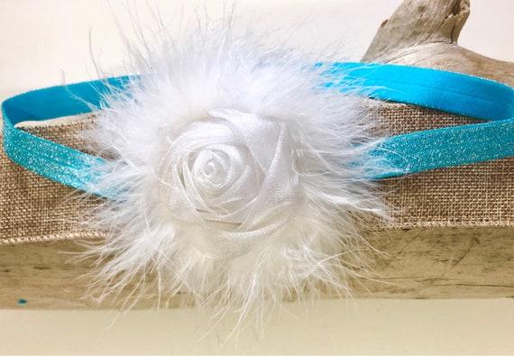 White Turquoise Baby Headband, White Organza  Headband, Baby Girl Headband, Portrait photo Baby Custom Headband, Baby Shower gift