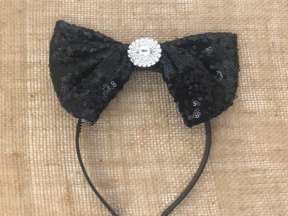 Black Bow Headband, Vintage Crystal Headband, Flower Girl Crown Headband,Deco Headpiece, Wedding Black Bow Headband,Crystal Headband,Big Bow