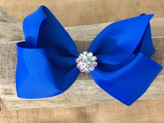 Royal Blue Hair Bow, Holiday Hair Bow, Rhinestone Hair Bow, Handmade Hair Bow, Free Shipping, Red, Hunter Green, White Hair Bow, Baby Bow