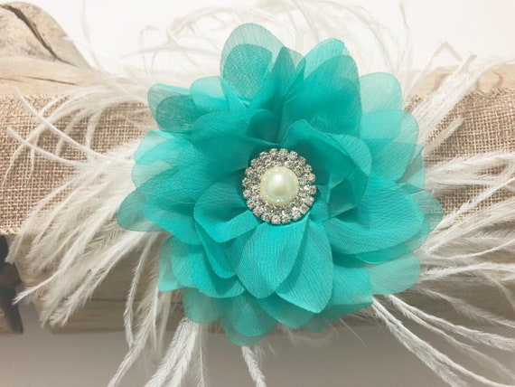Mint Teal Floral Hair Clip, Ivory Teal Clip, Bridal Hair Clip, Flower Girl Clip, Wedding Hair Clip, Floral Clip Flower Clip, Ivory Teal Clip