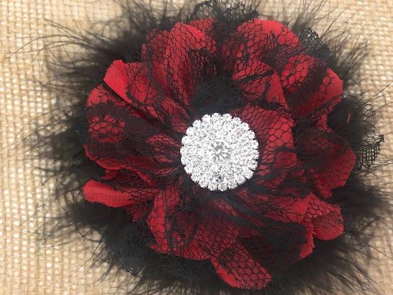 Red and Black Hair Clip, Red Floral Hair Clip, Dance Costume Hair Piece, Black Lace Clip, Feather Hair clip, Bridal Flower Hair Clip
