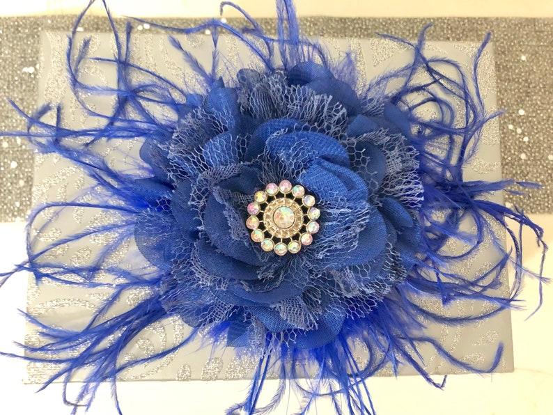 Bridal Hair Clip Bridal Flower Girl Hair Accessories Royal Blue Flower Hair Clip Derby Hat Feather Clip Blue Fascinator
