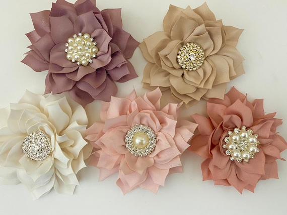 Easter Hair Bows, Taupe Hair Clip, Wedding Flower Girl Bridal Clips, Taupe Flower Clip, Blush, Champagne Beige, Dusty Pink Rose Hair Clips