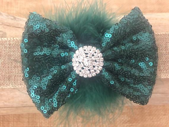Teal Green Hair Bows, Hunter Green Bow, Emerald Green Hair Bow, Teal Green Hair Bows, Blue Green Bow, Feather Hair Bows,Dance Costume Clip