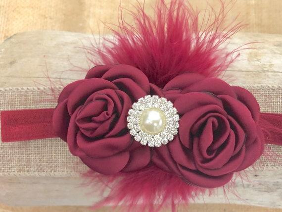 Floral Headband, Burgundy Wine Headband, Maroon Clip, Flower Girl Clip, Bridal Hair clip, Pearl Flower Clip