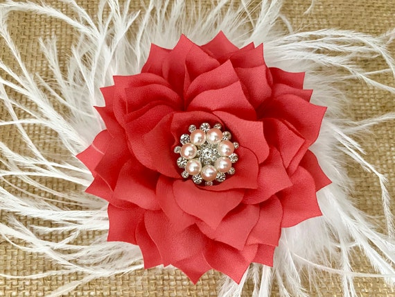 Floral Coral Wedding Flower Clips, All Colors,Bridal Flower Girl Communion Floral Hair Clips, Ivory, White, Blush, Taupe, Coral, Mint