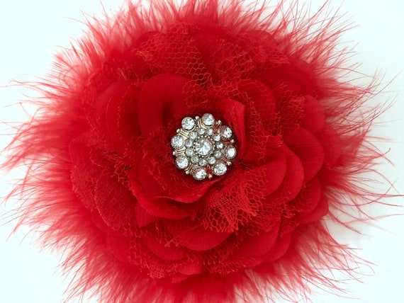 Red Chiffon Flower Clips,Red Lace Hair Clip,Red Black Clip,White Flower Clip, Ivory Floral Hair Clip,Dance Costume Lace Clips