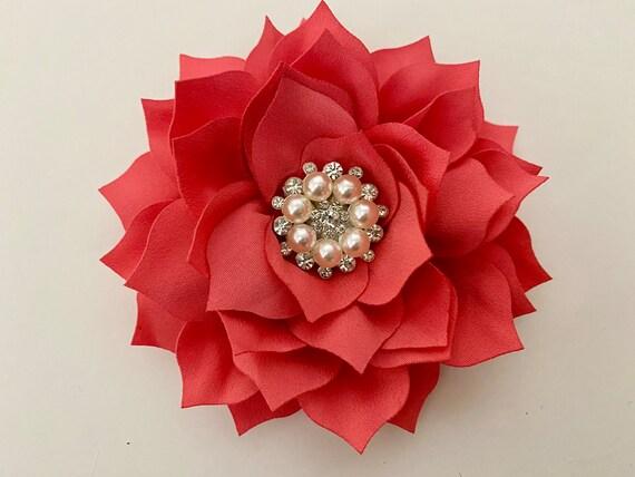 Coral Floral Hair Clip, Coral Hair Clip, Blush Hair Clip. Dusty Pink Rose Hair Clip, Taupe Hair Clip, Wedding Bridal Flower Hair Accessories