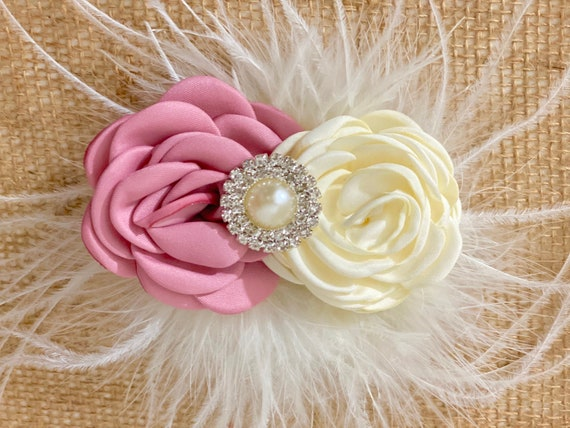 Dusty Pink Rose Clip, Ivory Burgundy Clip,Ivory Feather Baby Clip, Royal Blue Ivory Clip, Navy Clip Wedding Flower Hair Clips, Custom