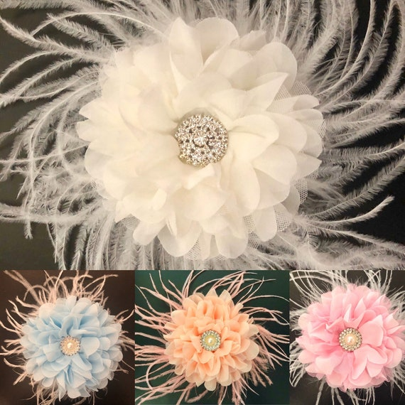 Wedding Fascinator, White Flower Clip, Kentucky Derby Fascinator, Bridal Headpiece,Vintage Wedding Hair piece, Crystal Hair Clip,Floral Clip
