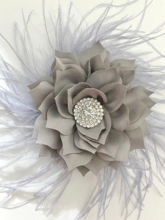 Silver Flower Clip, Silver Grey Hair Clip, Christmas Hair Clip, Silver Feather Crystal Clip, Wedding Hair piece, All colors