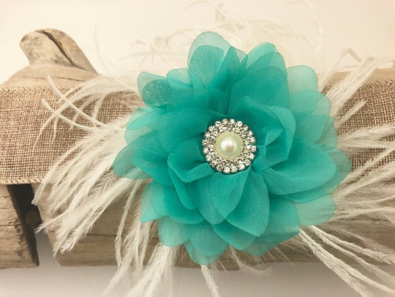 Wedding Flower clips, Teal, Mint Flower Clip,Feather Hair Clip, Derby Fascinator, Easter Flower Hair Clips, Crystal Flower Clips