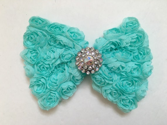 Mint Hair Bow, Flower Girl Hair Bow, White, Gray, Pink Chiffon Hair Bow, Rosette Hair Bows, Fancy Girl BoutiqueNYC Designs