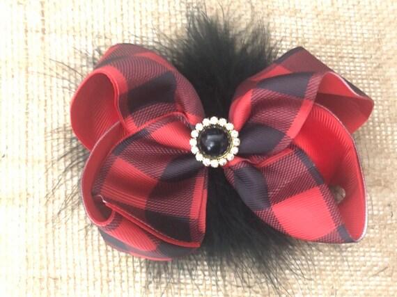Red Black Hair Bow, Plaid Hair Bows, Red Buffalo Plaid Christmas Hair Bow, Christmas Hair Bows for Girls,Baby Hair Bows,Red Black Plaid Clip