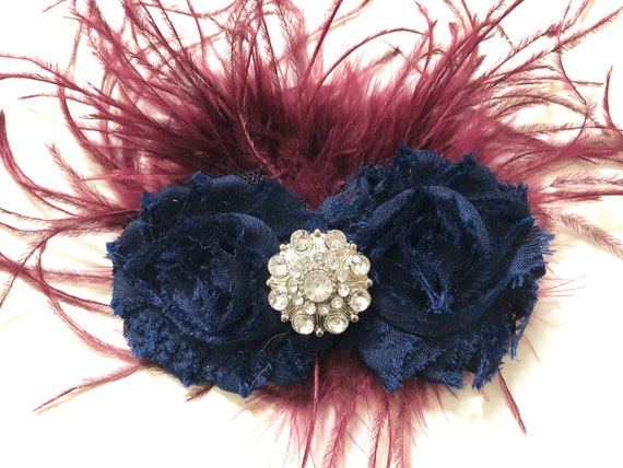 Navy and Burgundy Hair Clip, Maroon Blue Fascinator, Flower Girl Hair Clip, Burgundy Wine Navy Fascinator, Feather Clip, Dance Costume,