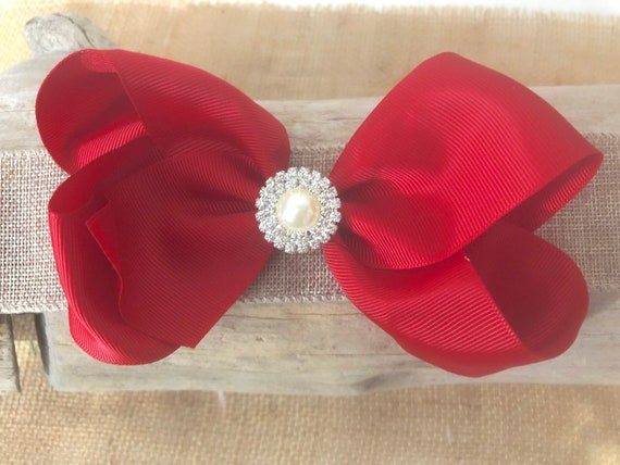 "Red Pearl Hair Bow, All Color Hair Bows, Bleu, Black, White, Pink, Purple Hair Bow, Custom Girls 6"" Hair Bow"