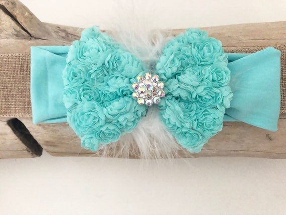 Baby Bow Headband, Mint Hair Bow Headband, Baby Gift Rosette Chiffon Baby Bows, All colors, White, Pink, Mint, Purple, Navy Hair Bows