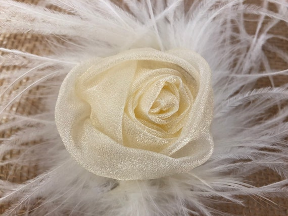Gold Floral Hair Clip, Pink Floral Hair Clip, White Flower Hair Clip, Wedding Bridal Fascinator, Flower Girl Clip, Feather Clip