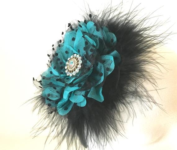 Teal, Flower Headband Fascinator, Black Lace  and Teal Chiffon Hair Flower Headband,Flower Girl,Bridal Headband, Dance Costume