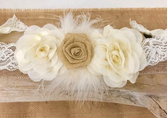Rustic Hair Clip, Floral Clip,Rustic Wedding Flower Girl Hair Clip, Ivory Cream Beige Clip, Bridal Hair Clip, Baptism Headband