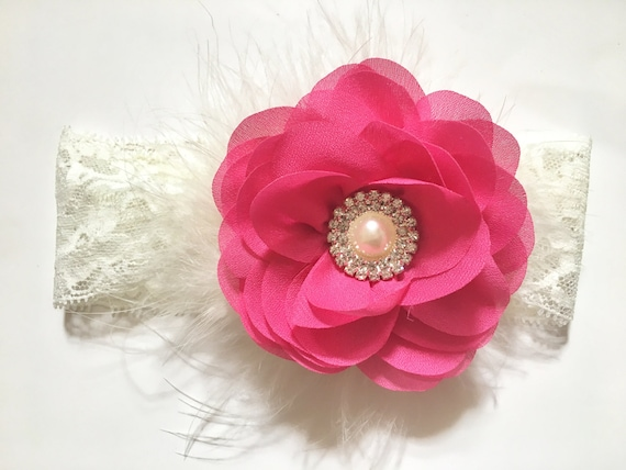 Pink Floral Baby Headband, Ivory, Pink, Mint  Hair Flower Pearl Lace Headband , Wedding Flower Girl  Hair Accessories,