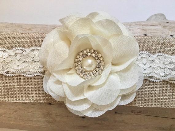 Baby Floral Headband,Baptism Headband, Rustic Woodland Headband, Ivory Lace Baby Headband, Ivory Floral Hair Clip, Headband for baby girl