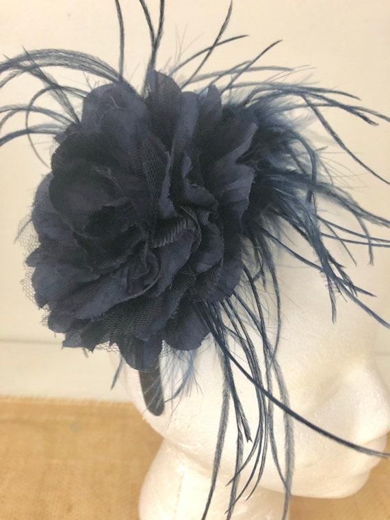 Blue Wedding Fascinator, Floral Headband Fascinator,Navy Blue Flower Headband Boutique Girls Headband, Flower Girl Headband, Kentucky Derby