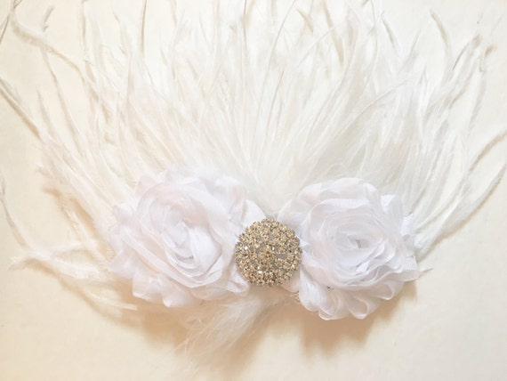 White Shabby Flower Feather Hair Clip,  Bridal Feather Hair Clip, Flower Girl Hair Clip,  Dance Costume Hair Pieces Competition, Baptism
