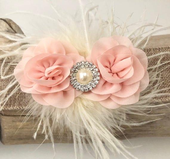 Blush Hair Clip, Blush Flower Clip, Pale Pink Clip, White Floral Clip, Mint Clip,Ivory Clip,Feather Hair Clip, Flower Girl Hair Accessories