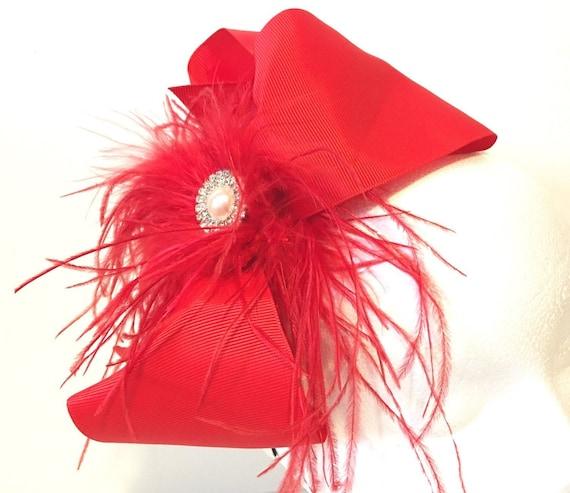 Red Headband Fascinator, Christmas Headband, Red Hair Bow Headband, Derby Hat Feather Headband,Custom Costume Feather Hair Bow Headband,