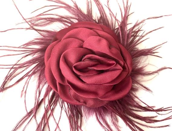 Burgundy Hair Clip, Burgundy Feather Hair Clips, Wedding Flower Girl Floral Clips,Matching Flower Hair Clips, 2 Sizes