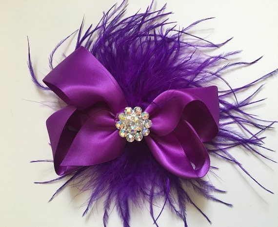 Purple Satin Hair Bow Hair Fascinator, Bridal Hair Piece,Flower Girl Hair Bow, Brides Maid, Dance Costume Hair Bows, All colors.