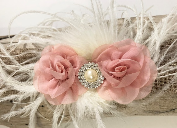 Pale Pink Hair Clip, Coral Hair Clip, Blush Hair Clip, Ivory, light Coral, Mint Hair Clip, Flower Girl Accessories, Baby Flower Hair Clip