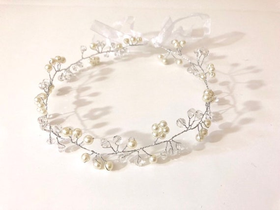 Flower Girl Silver Crown Wreath, Floral Crown, Flower Girl Gold Crown Wreath, Crystal Bridal Crown, Wedding Crown, Communion Crown Wreath