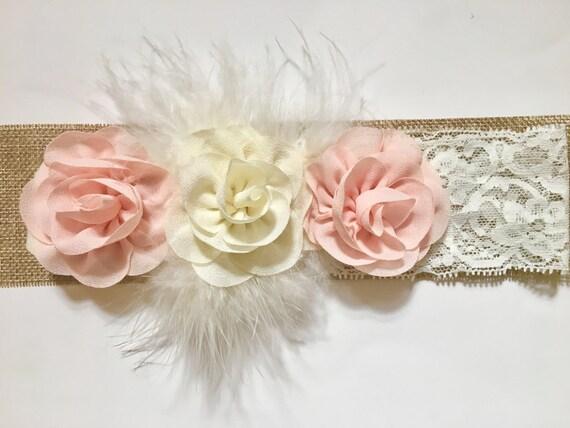 Blush Pink Baby Headband, Flower Girl Clip, Blush pink Ivory Flower Hair Clip Headband, Chiffon Marabou Hair Clip. Bridal Hair clip, Flower